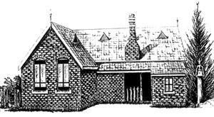Drawing of the brick building that was the second school.